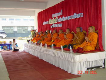 As always on such auspicious occasions, 9 Buddhist monks give their blessings during the inauguration ceremony.