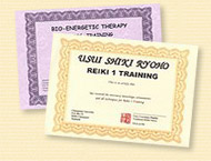 Reiki and ABET Certificates and Certification with each Class completed.